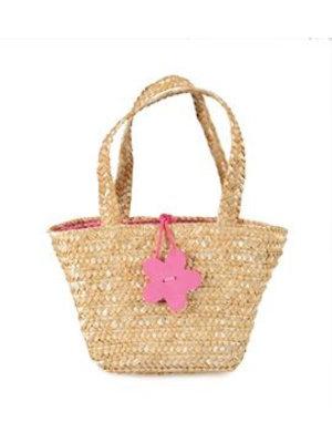 Egmont Boodschappentasje - Gevlochten - Roze bloem