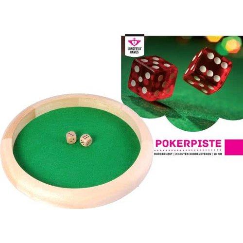 Pokerpiste - Hout - Incl. 2 dobbelstenen