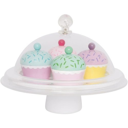 JaBaDaBaDo Speelgoedeten - Cupcakes - Met stolp - Hout - 6dlg