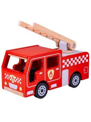 BigJigs Bigjigs - Auto - Brandweer - Ladderwagen - 28cm