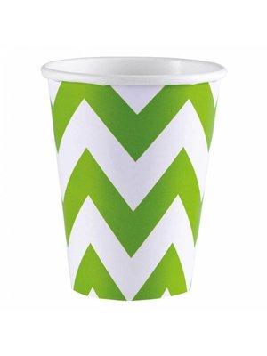 Amscan Amscan - Bekers - Zigzag - Groen/wit - Karton - 8st.