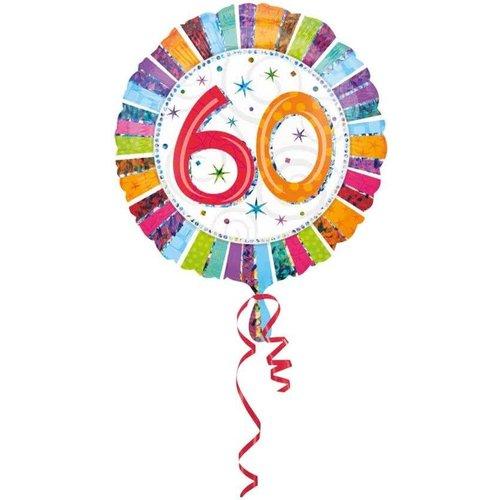 Anagram Folieballon - 60 Jaar - Radiant - 43cm - Zonder vulling