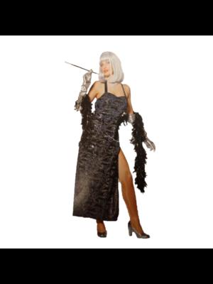 1234feest 1234feest - Kostuum - Jurk - Swirl - Zwart/zilver - L