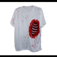 PartyXplosion - Shirt - Open ribbenkast - Wit/bloederig - L