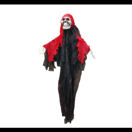 1234feest Decoratief skelet - Met rode kap - Hangend
