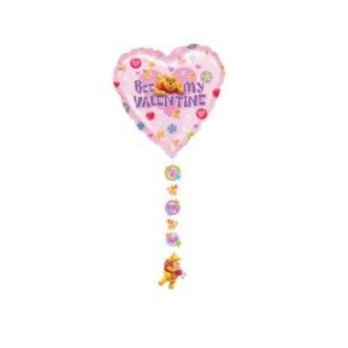 Disney Folieballon - Winnie de Poeh - Bee my valentine - Met onderhangers - Zonder vulling