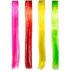 Folat Folat - Hair extension set - Neon roze, rood, geel, groen