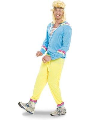 Folat Folat - Kostuum - 80's Trainingspak - Blauw - Jack, broek en hoofdband - mt. XL/XXL