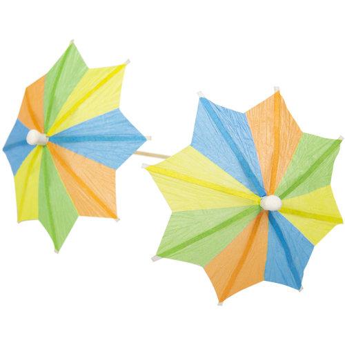 Folat Prikkertjes - Parasol - Zomerkleuren - 10cm - 10st.