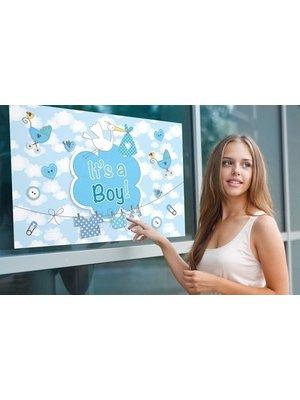 Folat Folat - Raamvlag - It's a boy - Met zuignappen - 60x90cm
