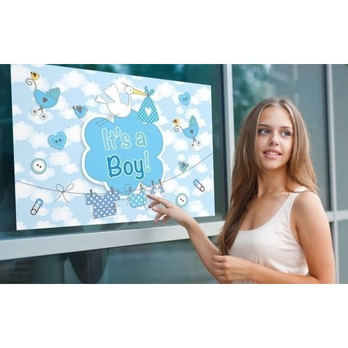 Folat Raamvlag - It's a boy - Met zuignappen - 60x90cm