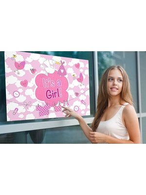 Folat Raamvlag - It's a girl - Met zuignappen - 60x90cm