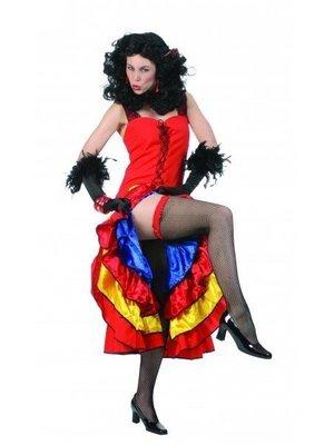 Funny Fashion Funny Fashion - Jurk - Cancan - Rood/geel/blauw - M/L