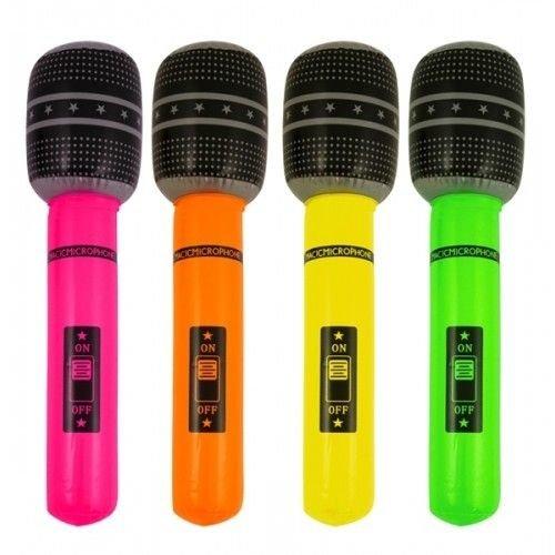 Henbrandt Henbrandt - Microfoon opblaasbaar Neon - 40 cm - 1 stuks - Willekeurig geleverd