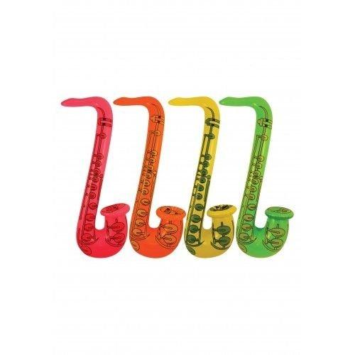 Henbrandt Henbrandt - Saxofoon opblaasbaar Neon - 55 cm - 1 stuks - Willekeurig geleverd