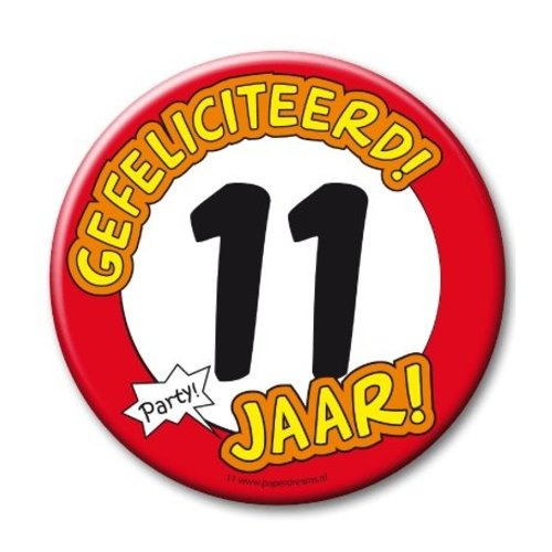 Paperdreams Button - 11 Jaar - Groot