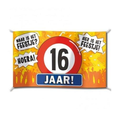 Paperdreams Vlag - 16 Jaar - 150x90cm