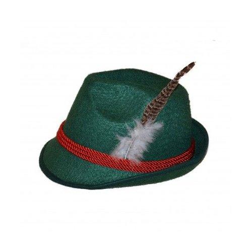 Partychimp Hoed - Donker groen - Tiroler - Met veer