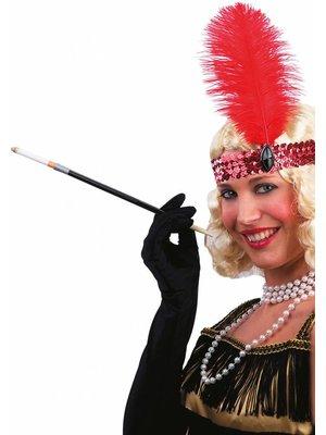 Partychimp Partychimp - Haarband met veer - Charleston - Rood