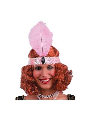 Partychimp Partychimp - Haarband met veer - Charleston - Roze