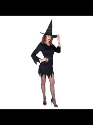 Partychimp Kostuum - Jurk - Heks - Incl. hoed - Zwart - M