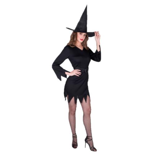 Partychimp Kostuum - Jurk - Heks - Incl. hoed - Zwart - XS