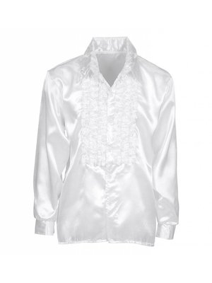 PartyXplosion PartyXplosion - Blouse - Ruches - Wit - M - maat 50