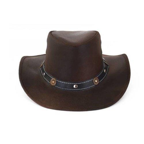 PartyXplosion Hoed - Bruin - Cowboyhoed - Leder - XL