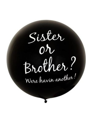 PartyXplosion Ballon - Gender reveal - Sister or brother? - 90cm