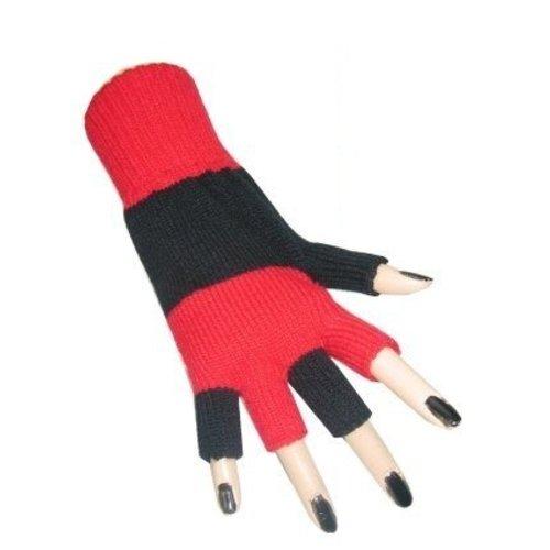 PartyXplosion Handschoenen - Rood / zwart - Vingerloos