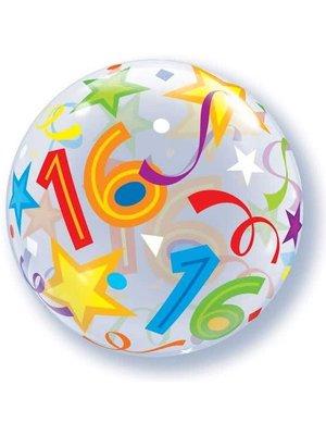Qualatex Qualatex - Folieballon - Bubble - 16 Jaar - Zonder vulling - 56cm