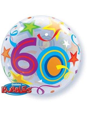 Qualatex Qualatex - Folieballon - Bubble - 60 Jaar - Zonder vulling - 56cm