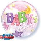 Qualatex Qualatex - Folieballon - Bubble - Baby girl - Zonder vulling - 56cm