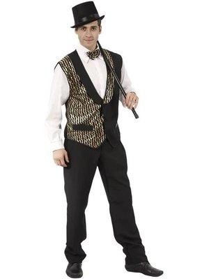 Twisk Kostuum - Gilet - Met strik - Goud/zwart - M/L