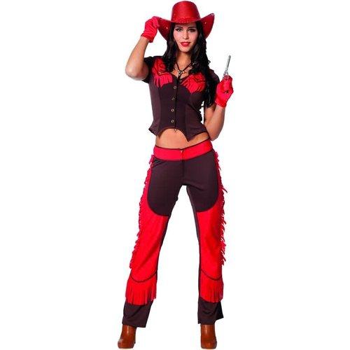 Witbaard Kostuum - Chaps - Cowgirl - Rood - L