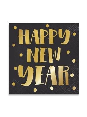 Witbaard Servetten - Happy new year - 33cm - 16st.