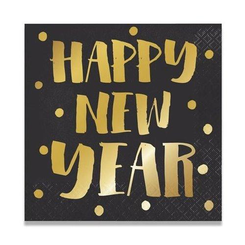 Witbaard Witbaard - Servetten - Happy New Year - 33cm - 16st.