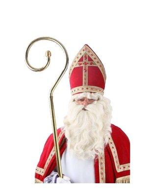 PartyXplosion Pruik & baard - Sinterklaas - Losse snor - Met kinzak