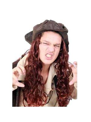 PartyXplosion Hoed - Bruin - Caribische piraat - Met haar