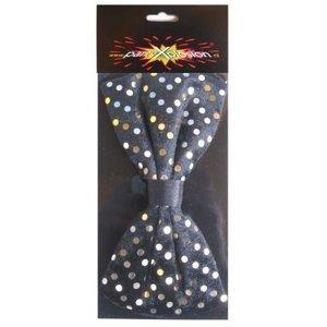 PartyXplosion PartyXplosion - Strik - Stippen - Zwart met goud - 14x7.5cm