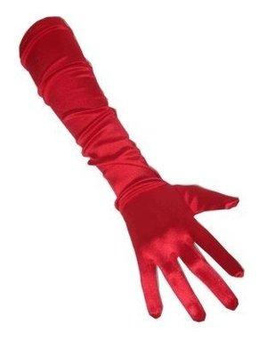 PartyXplosion Handschoenen - Rood - Satijn - 48cm