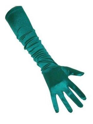 PartyXplosion Handschoenen - Turquoise - Satijn - 48cm