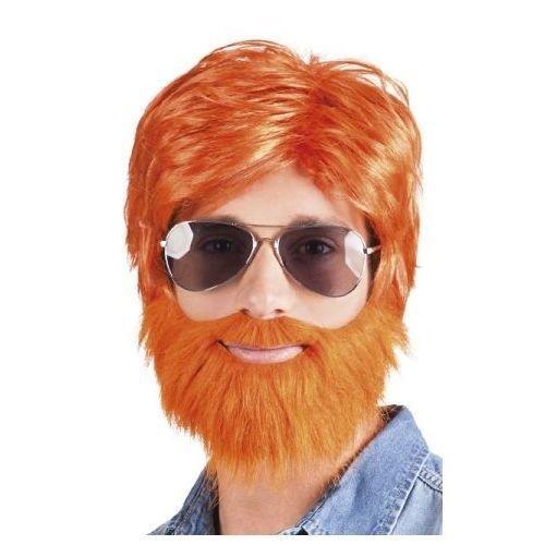 PartyXplosion Pruik met baard - Oranje - Dude