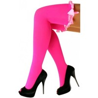 PartyXplosion - Stay up kousen - Met strik - Fluor roze