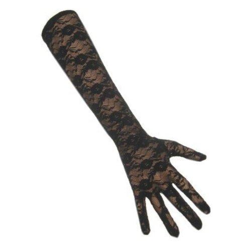 PartyXplosion PartyXplosion - Handschoenen - Kant - Lang - Zwart