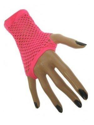 PartyXplosion Handschoenen - Roze - Vingerloos - Net - Kort - Fluor / neon