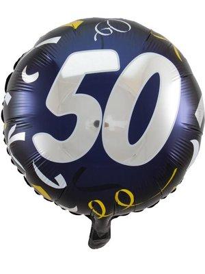 Folat Folat - Folie Ballon - Cijfer 50 - Zonder Vulling - Zwart/zilver