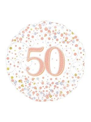 PartyXplosion Folieballon - 50 Jaar - Holografisch - Rosé Goud - 45cm - Zonder vulling