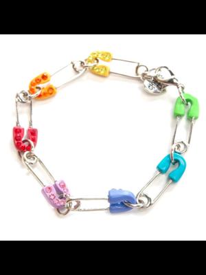 Armband - Veiligheidsspeld - Regenboog - Charm it!