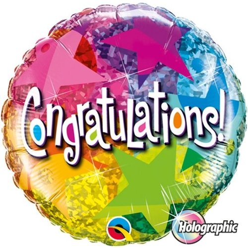 Qualatex Qualatex - Folieballon - Congratulations - Sterren - 46cm - Zonder vulling